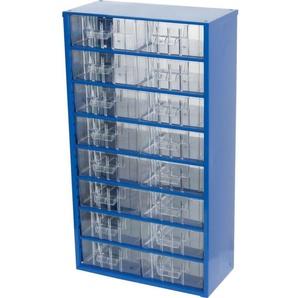 Kleinteilemagazin MAXI16 551 x 306 x 155 mm mit 16 transparenten Kunststoffschubladen Stahl blau Lagerschrank