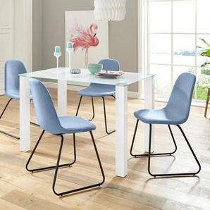 Essgruppe 5-teilig mit Glastisch 120 cm breit, blau