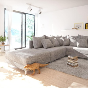 Ecksofa Clovis Hellgrau Strukturstoff Hocker Armlehne Ottomane Rechts Modulsofa, Design Ecksofas, Couch Loft, Modulsofa, modular