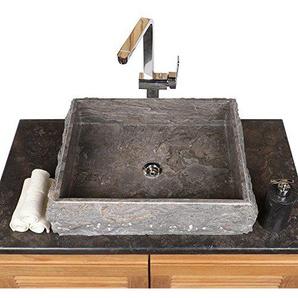wohnfreuden Marmor Aufsatzwaschbecken 50x40x10 cm cm grau eckig außen gehämmert innen poliert ? Handwaschbecken Steinwaschschale Naturstein-Aufsatzwaschbecken für Bad Gäste WC