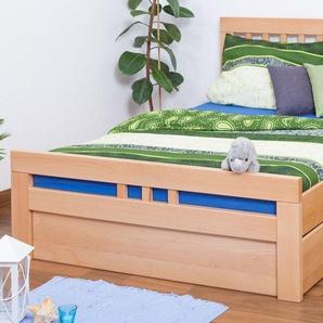Einzelbett / Funktionsbett Easy Premium Line K8 inkl. 2 Schubladen und 1 Abdeckblende, 140 x 200 cm Buche Vollholz massiv Natur