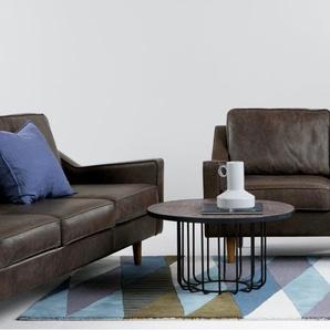 Dallas 2-Sitzer Sofa, Premium-Leder in Dunkelbraun