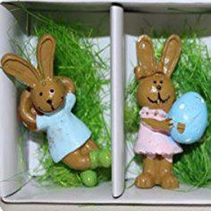 Melo Lustige Bunte Osterhasen Figuren mit Ei in Schachtel und Ostergras