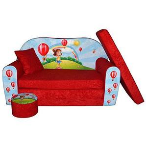 FORTISLINE Kindersofa Kindercouch Aufklappen Bettfunktion + Hocker W319 Viele Muster (Girl Red)