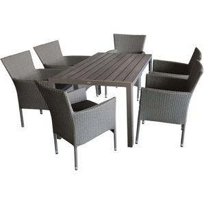 Gartenmöbel Terrassenmöbel Set Gartentisch Polywood 150x90cm + 6x Rattansessel, stapelbar, Polyrattanbespannung, grau-meliert + Sitzkissen schwarz - MULTISTORE 2002