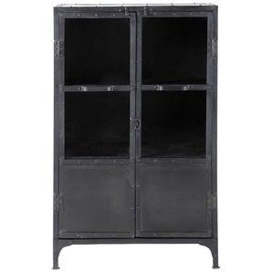 Beistellschrank im Industrial-Stil aus Metall mit Verglasung, B 75cm, schwarz  Edison