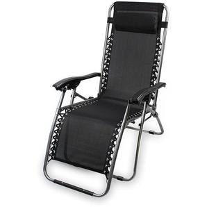 Entspannender Klappstuhl, Garten Textil-Relaxer, 165 x 112 x 65 cm, Schwarz, Stoff, mit Kissen, Maximale Belastbarkeit: 100 kg - TODECO