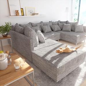 Wohnlandschaft Clovis Hellgrau modular Strukturstoff Hocker, Design Wohnlandschaften, Couch Loft, Modulsofa, modular