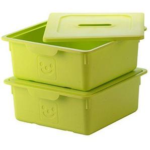 IRIS, 2er-Set Schublade-Box Smiley Kids Boxes, KDL-330, Kunststoff, mit Deckel, pistaziengrün, 33 x 31,5 x 13,5 cm
