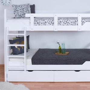 Etagenbett für Erwachsene Easy Premium Line K12/n inkl. 2 Schubladen und 2 Abdeckblenden, Kopf- und Fußteil gerade, Buche Vollholz massiv Weiß - Maße: 90 x 200 cm, teilbar