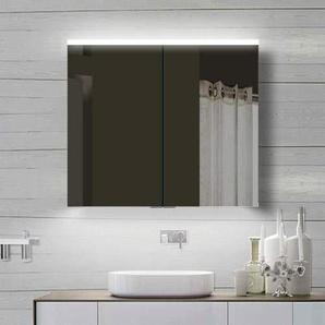 Lux-aqua LED Beleuchtung Badschrank Badezimmerschrank Spiegelschrank YDC80-70, Aluminium 80x70cm