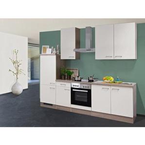 Flex-Well Exclusiv Küchenzeile Eico 270 cm Magnolienweiß-Tennessee Eiche