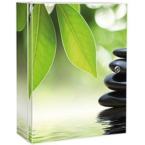 banjado Medizinschrank groß abschließbar | Arzneischrank 35x46x15cm | Medikamentenschrank aus Metall weiß mit Motiv Steine&Relax