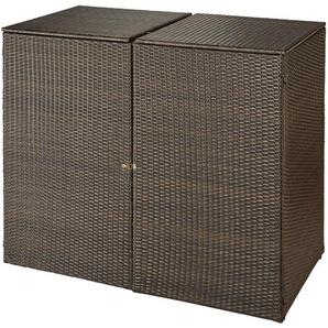 HANSE GARTENLAND Mülltonnenbox , für 2x120 l aus Polyrattan, B/T/H: 129/66/109 cm