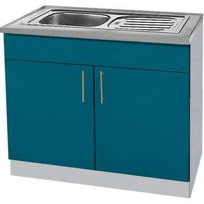 wiho Küchen Spülenschrank »Kiel« 100 cm breit, blau