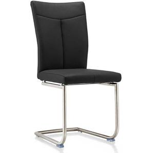 Leder Freischwinger Stühle in Schwarz Edelstahl (2er Set)