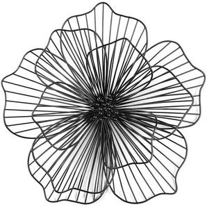 Wandobjekt Blume, Metall, D:52cm, schwarz