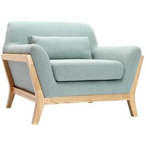 Design-Sessel Lagunenblau und Füße aus Holz YOKO