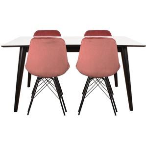 Essgruppe | Esstisch Ausziehbar Weiß 150/230 cm Weiß mit 4 Samt Stühlen Rosa - Nora