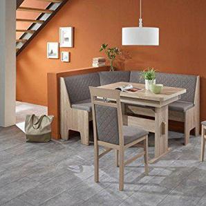 Eckbankgruppe Kameli III Essgruppe 165 x 125 x 86 2 Stühle modern Eckbank Küchentisch Wangentisch4-teilig Küche Polsterung grau-braun Buche massiv naturfarbig Eiche Sonoma Sägerau Dekor