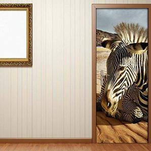 Türaufkleber Afrika Tier Zebra Wüste Sand Tür Bild Türposter Türfolie Druck Aufkleber 15A2308, Türgrösse:67cmx200cm