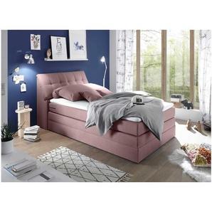 JUSTyou Bismarck I Boxspringbett Continentalbett Amerikanisches Bett Doppelbett Ehebett Gästebett 120x200 Rosa