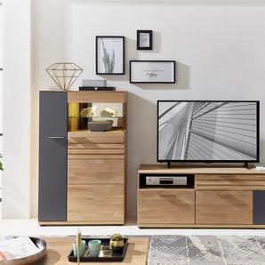 Wohnwand Set ACHAT  Farbe Natur Eiche, Wildeiche Massivholz / Teilmassiv Breite 333 cm mit Beleuchtung von Wohn-Concept