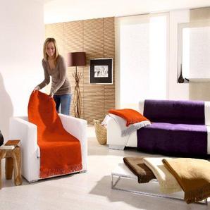 Hochwertiger Sessel-Überwurf / Sesselschoner 50/200 mit Fransen, natur
