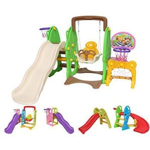Clarmaro Kids Adventure 5in1 Kinder Spielplatz Rutsche mit 140 cm Wellenrutsche, Schaukel, Fußballtor und 2 Basketballkörben, Garten Rutschbahn, Spielturm und Rutsche Breiten Stufen und Standbeinen