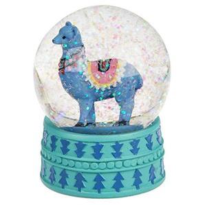 Objektkult Glitzerkugel Lama 8,5 cm hoch, 6 cm Durchmesser, aus Glas und Polyresin, 3 Farben zur Auswahl, Wohndeko und Deko für Schreibtisch, Farbe:blau