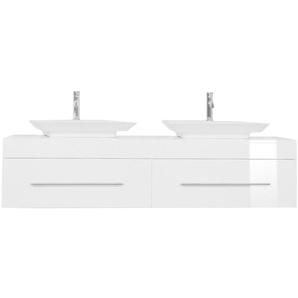 Badmöbel Pegasus XL weiss hochglanz mit Aufsatzwaschbecken