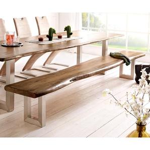 Sitzbank Live-Edge 295x40 Akazie Braun Gestell breit Baumkante, Bänke, Baumkantenmöbel, Massivholzmöbel, Massivholz, Baumkante, Wolf Live Edge