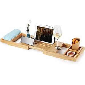 Bambus Badewannenablage Badewannenauflage Ausziehbar Badewannentablett mit 2x HandtuchBoxen und Rutschfest Kautschuk Badewannenbrett mit Buchstütze Handytablett und Buchstütze für iPad(70x92cm)