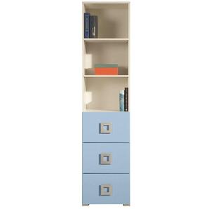 Jugendzimmer Regal Namur 05, Farbe: Blau / Beige - Abmessungen: 197 x 45 x 44 cm (H x B x T)
