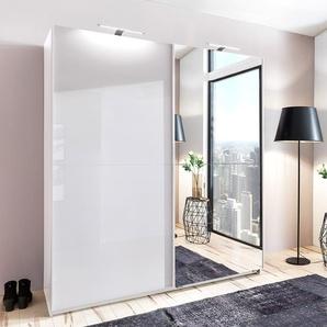 2-trg. Schwebetürenschrank in weiß mit Fronten in Hochglanz Lack weiß und Spiegel, 2 Einlegeböden und 2 Kleiderstangen, Maße: B/H/T ca. 179/198/64 cm