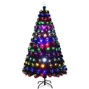 COSTWAY LED Weihnachtsbaum künstlicher Tannenbaum Christbaum beleuchtet 150/180/210cm grün mit Glasfaser-Farbwechsel (210cm)