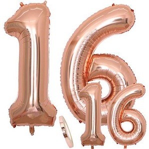 cholinchin Luftballons Zahl 16 Geburtstag XXL Rose Gold - Riesen Folienballon in 2 Größen 40 & 16| Set 100cm+Mini 40cm Version Geburtstagsdeko | Insgesamt Vier Zahlen | Ideal zum 16. als Deko