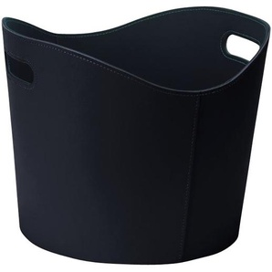 TermaTech Holzkorb Leder rund Ø 39 x 31 cm, schwarz