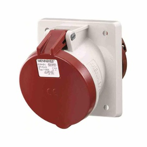 MENNEKES CEE-Anbausteckdose, 5p, 63A, 400V (50+60Hz) rot, 6h, IP44, Schraubklemme, abgewinkelt, Kunststoff, 106x110mm