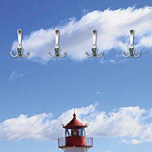 Artland Qualitätsmöbel I Garderobe mit Motiv Holz Bedruckt und Metall Haken Architektur Gebäude Leuchtturm Fotografie Blau F1IP Leuchtturm Sylt