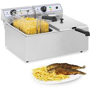 Royal Catering RCEF 15D Elektro-Fritteuse Edelstahl Doppel Fritteuse (2 x 17 L, 3.000 W, Thermostat, Temperaturbereich 60-200 °C, Ablasshahn)