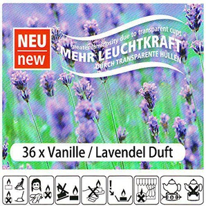 K7plus 36 Teelichter Set Teelicht mit Transparente Hülle und Doppelter Leuchtkraft (36 x Vanille - Lavendel)