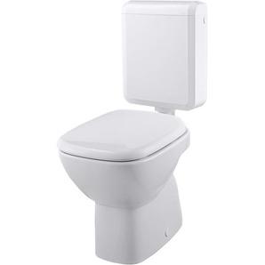 Stand-WC-Set Tiefspüler Weiß Abgang waagerecht