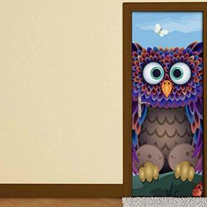 Türaufkleber Kinderzimmer Cartoon Uhu Eule Vogel Schmetterlinge Tür Folie Bild Türposter Türfolie Türtapete Türbild selbstklebend bunt Druck Aufkleber sticker 15B181, Türgrösse:80cmx200cm