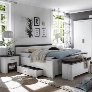 JUSTyou Penelopa Schlafzimmerset Schlafzimmerkombination Schlafzimmer Komplett Pinie Weiß | Wenge