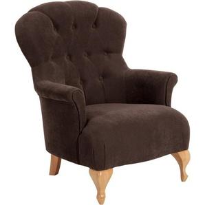 Max Winzer® Chesterfield-Sessel »Clara«, mit edler Knopfheftung, braun, Luxus-Microfaser