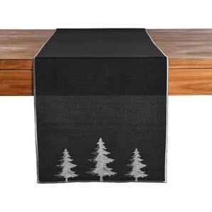 Tischläufer Trees, B:40cm x L:150cm, dunkel-grau