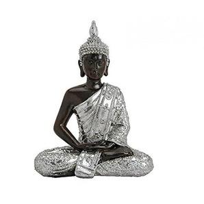 HS86 Buddha Figur Statue Dekofigur Feng Shui Garten Budda Skulptur Schwarz Silber