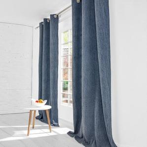 Kobe Interior Design Vorhang Stonewash - 1 Stück, 132 x 245 cm - Blau