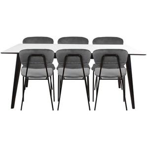 Essgruppe | Esstisch Ausziehbar Weiß 195/285 cm mit 6 Samt Stühlen Grau - Nora & Rose